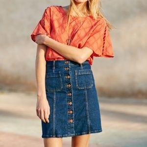 Madewell Denim Button-Front Skirt, sz 31